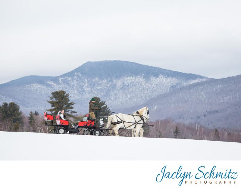 Sleigh ride wedding at Mountain top Inn
