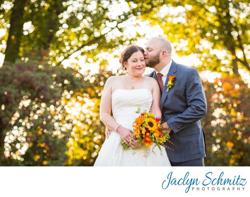 Sunset fall wedding