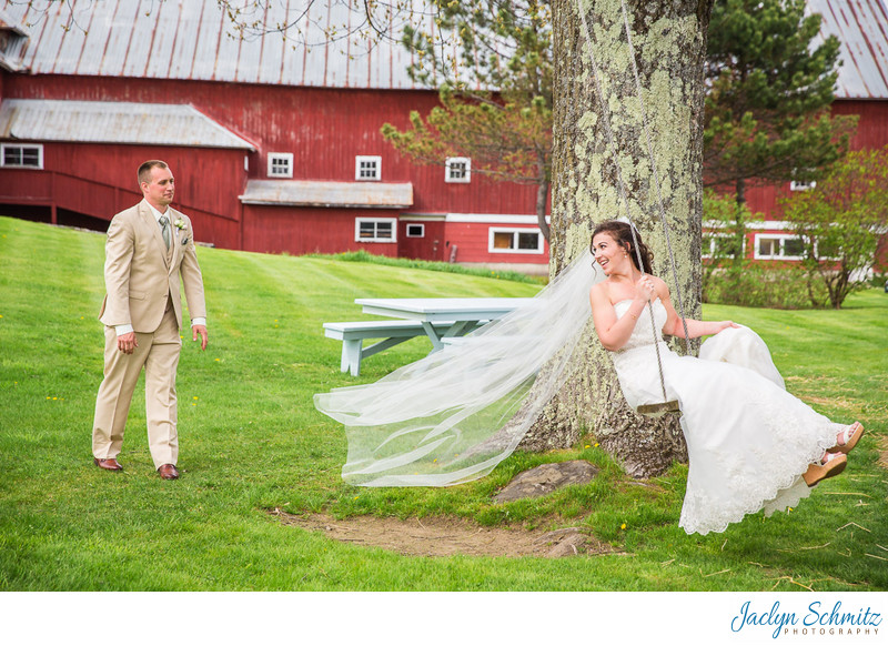 Tree swing wedding photos