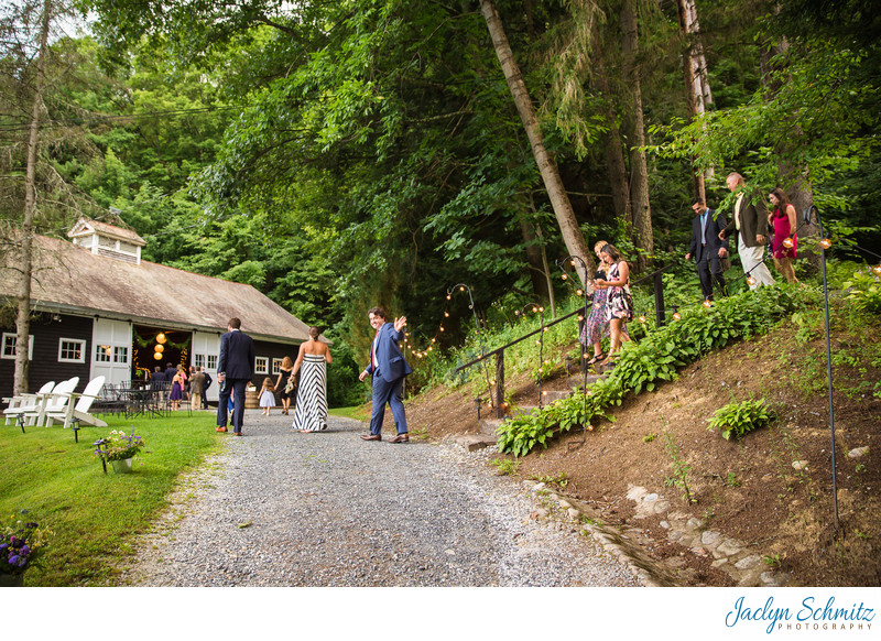 Garden path to barn at West Mountain Inn