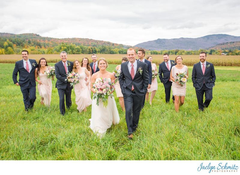 Casual wedding party photos Vermont