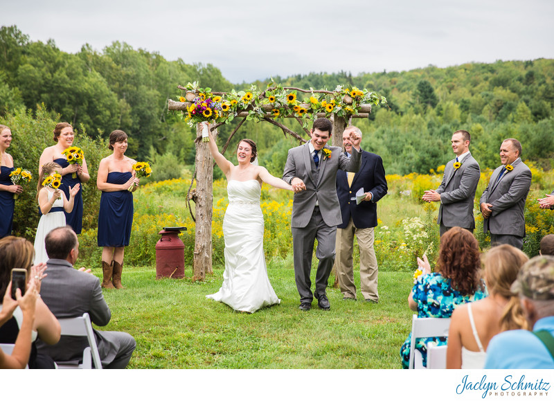 Wedding ceremony Mansfield Barn VT
