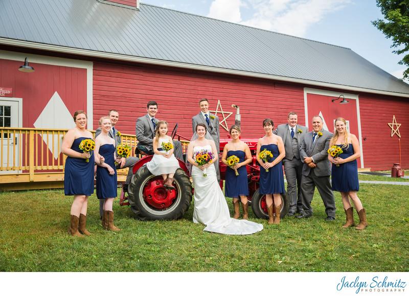 Tractor wedding party photos VT