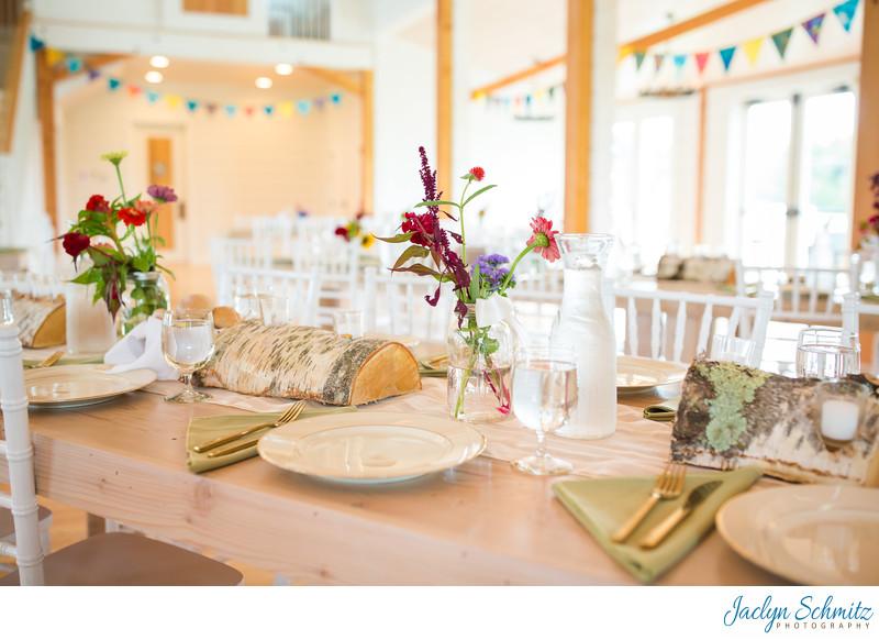 White wood wedding reception tables VT