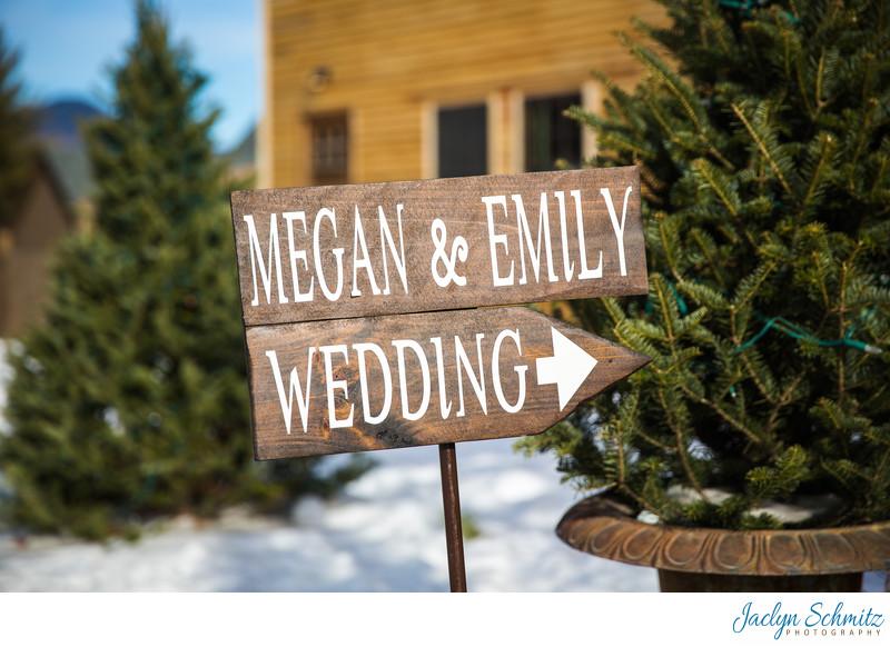 Evergreens and snow winter wedding VT