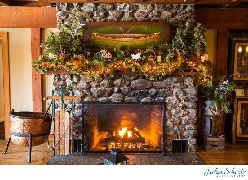 Grand stone fireplace Mountain Top Inn wedding