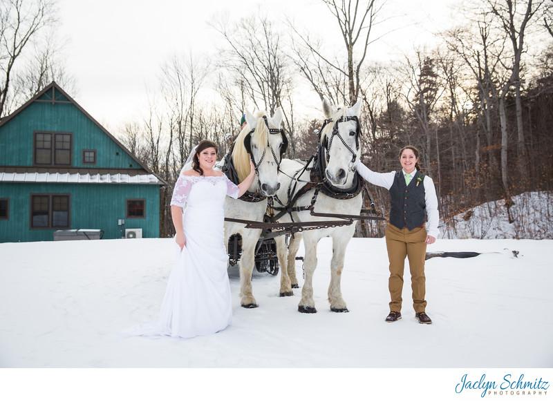 Sleigh winter wedding VT