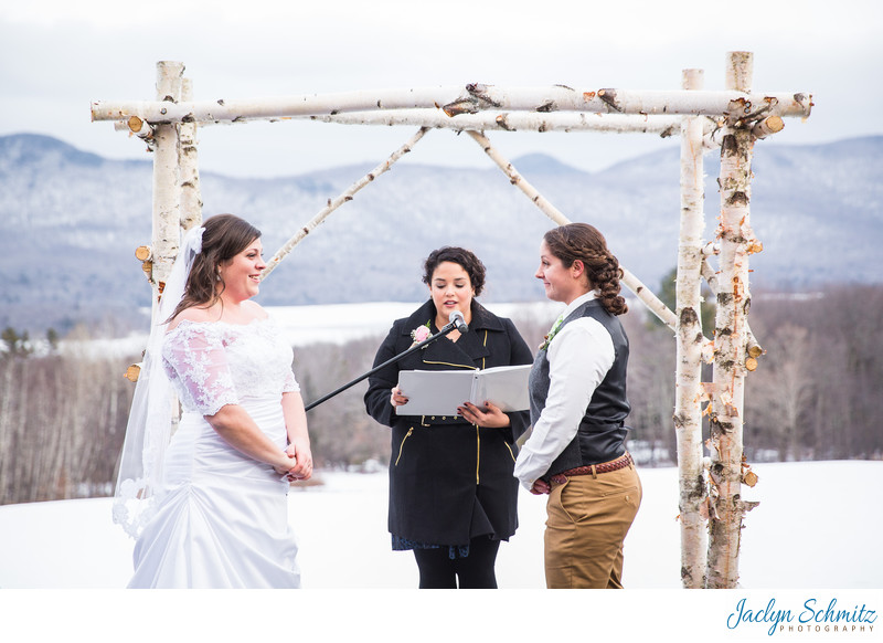 White birch tree arbor wedding Vermont