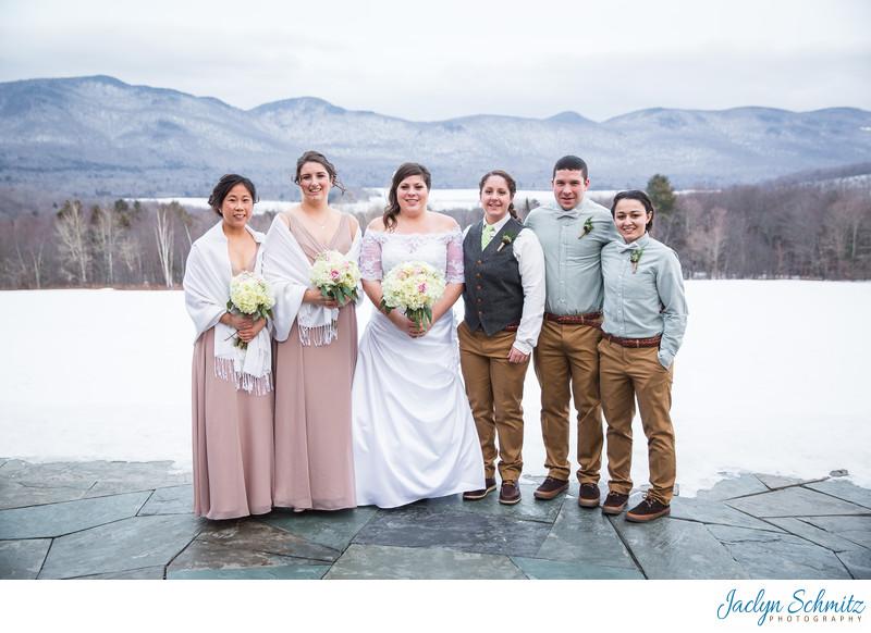 Terrace wedding portraits Mountain Top Inn