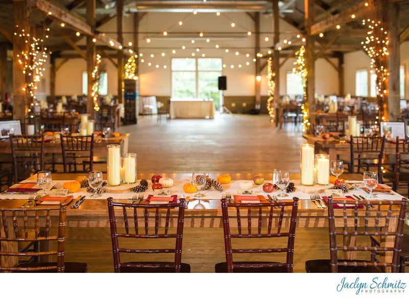 Fall wedding decor Mountain Top Inn