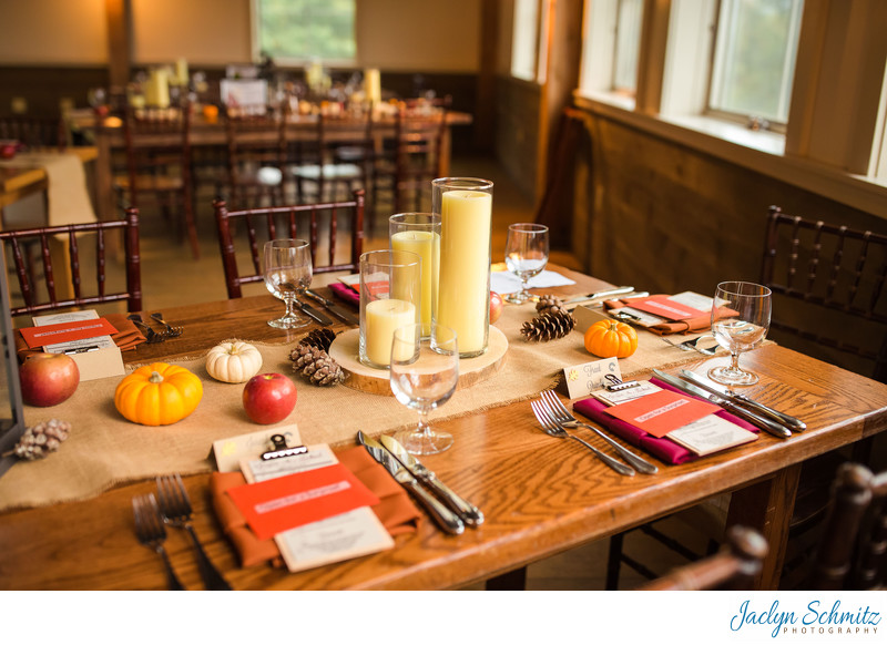 Long farm tables wedding Mountain Top Inn