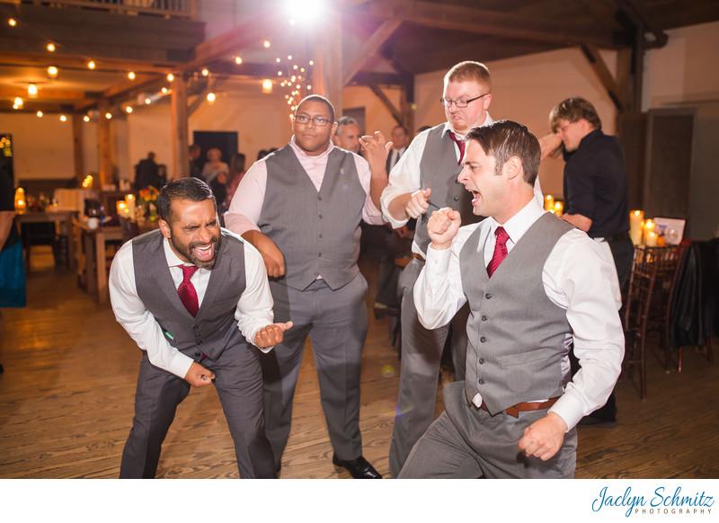 Air band wedding guests reception