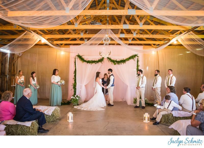 Indoor wedding ceremony Franklin County Field Days