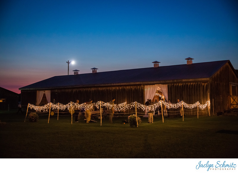 Franklin County Field Days barn at twilight