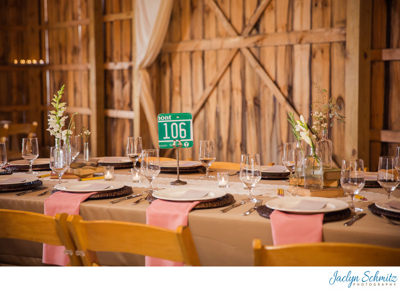 Vermont license plate wedding table number