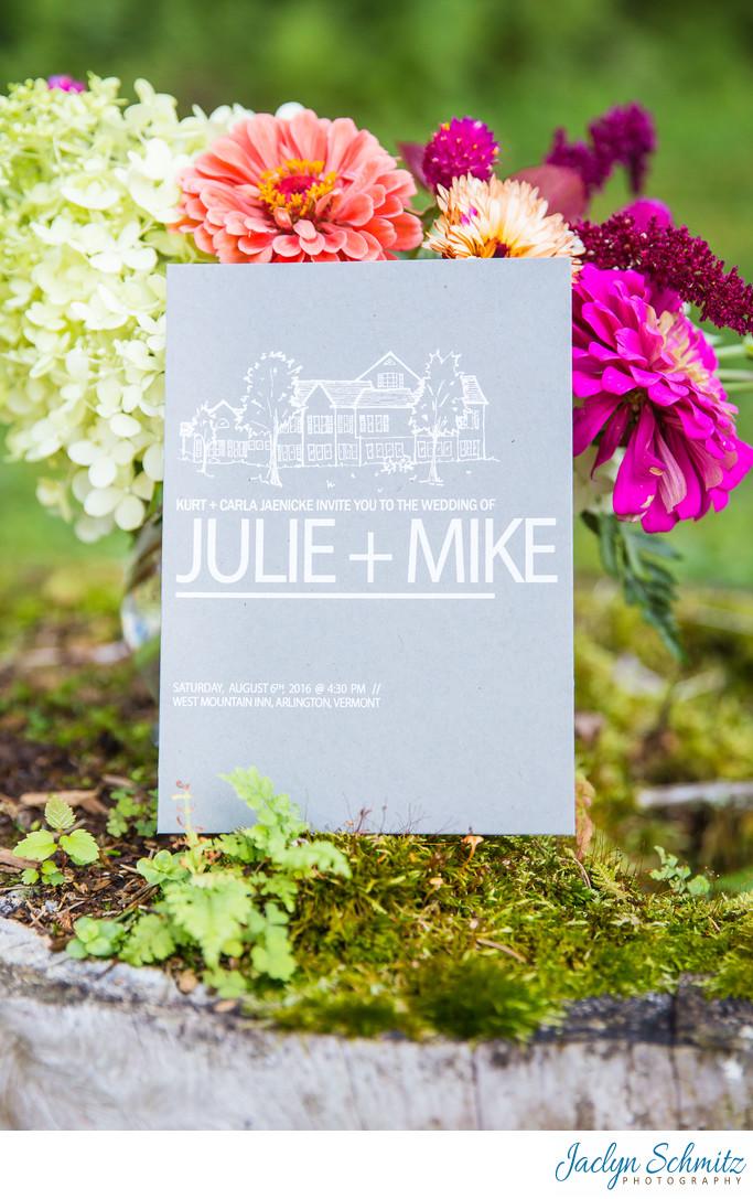 Modern grey wedding invitation