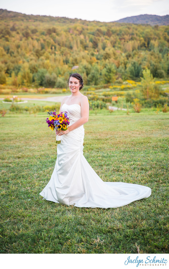 Bridal Portraits at sunset VT