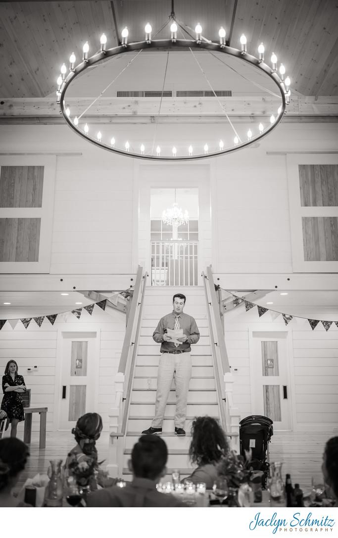 Modern chandelier wedding barn