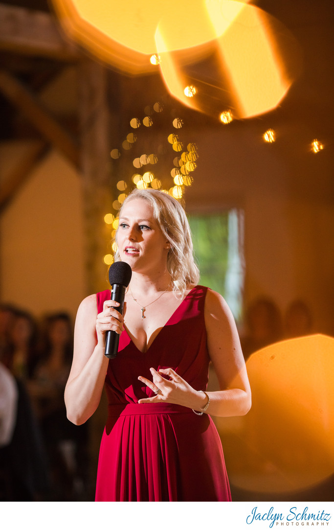 Wedding speech with bokeh