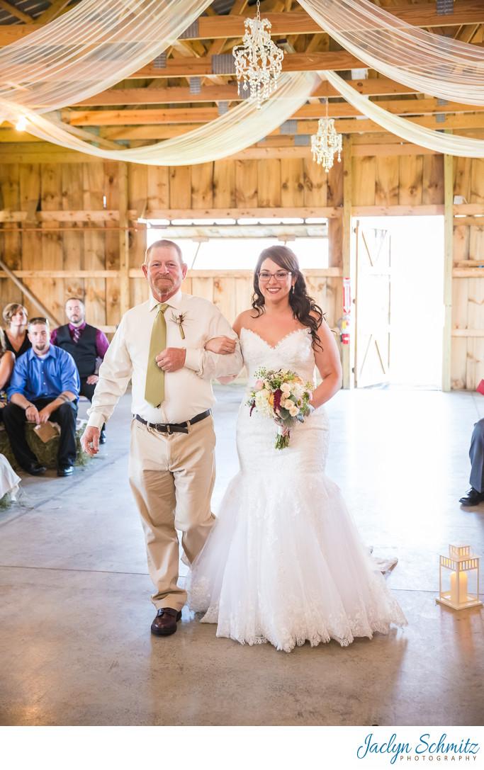 Franklin County Field Days barn wedding ceremony