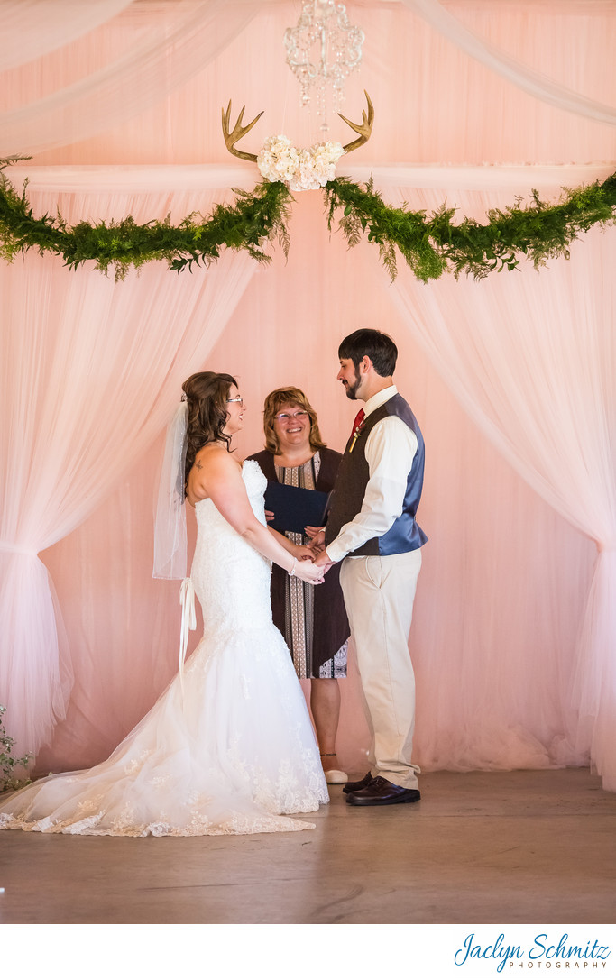 Soft Pink and antler wedding decor
