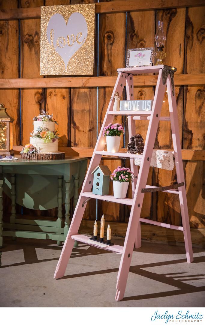 Pink ladder wedding decor ideas