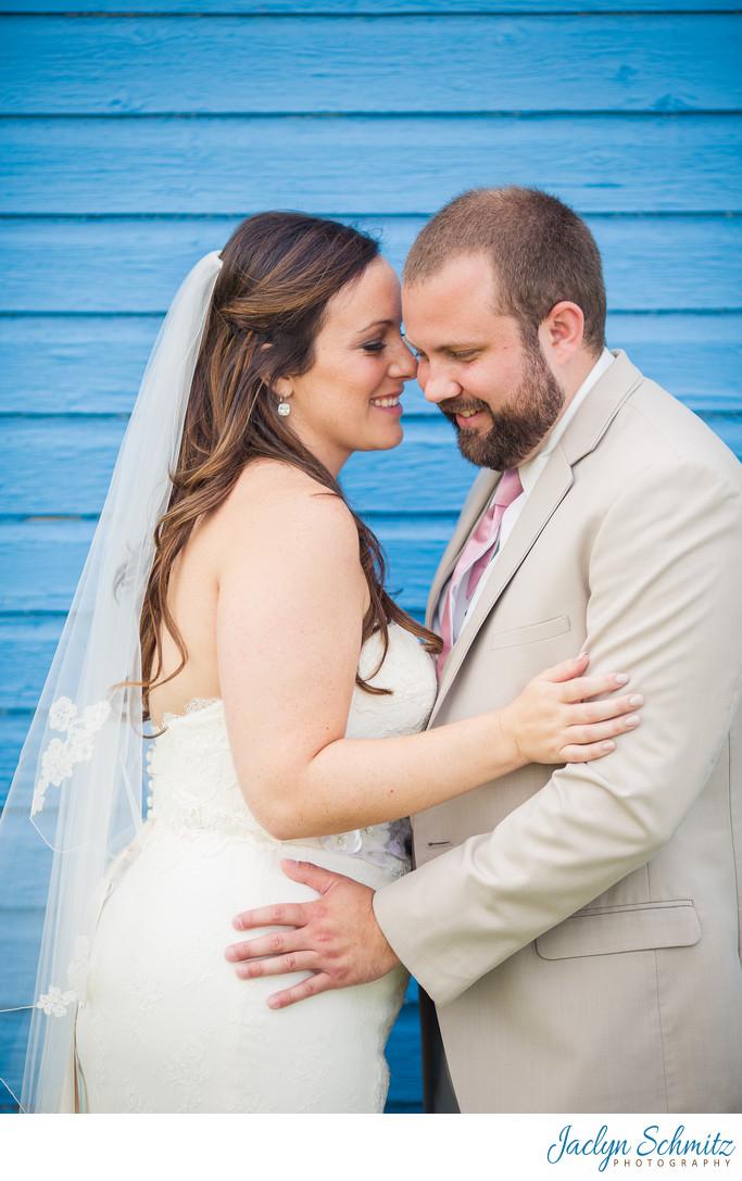 Bright blue barn wedding photos VT