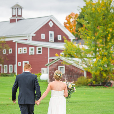 Red barn wedding photos VT