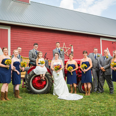 Tractor wedding party photos VT