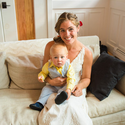Bride and son getting ready