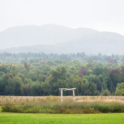 Outdoor ceremony arbor Smugg's Barn VT