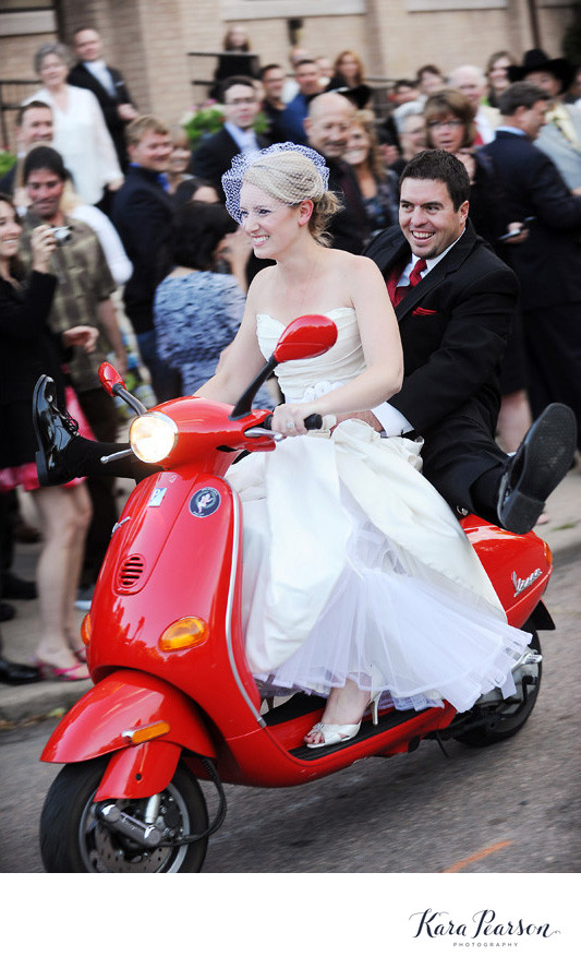Bride And Groom On A Scooter In Denver