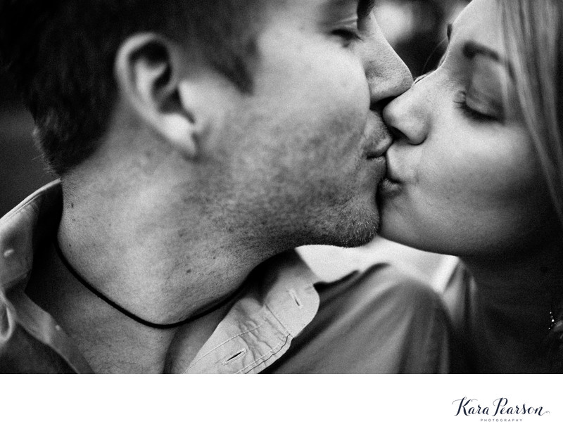Black And White Closeup Kissing Photo