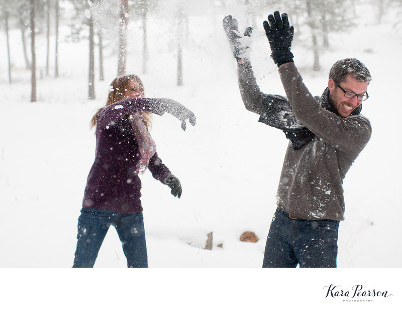 Snowball Fight At Chief Hosa Engagement Shoot