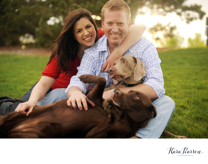 Platte River Engagement Portrait With Dogs