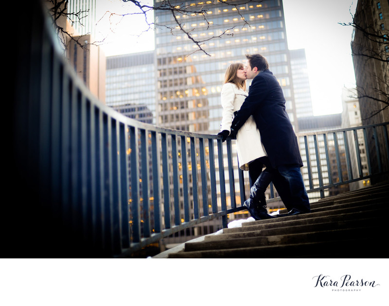 Chicago Engagement Portrait In Winter