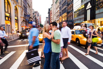 New York City Couple Kissing In the Street