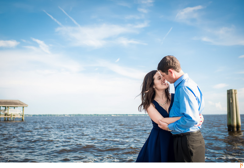 ENGAGEMENT PHOTO WITH BLUE DRESS AND THE RIVER AT EPPING FOREST
