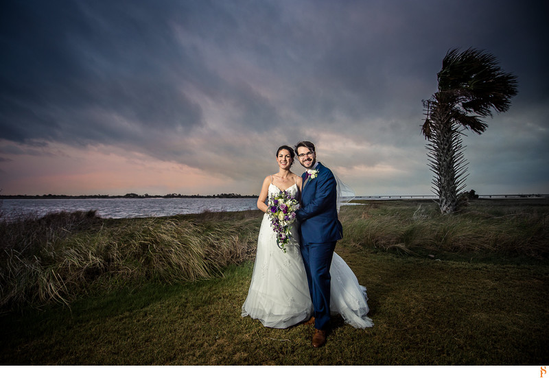 Gorgeous couple at sunset at the Ribault Club by the St johns River