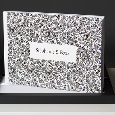WEDDING ALBUM WITH BLACK DECOR ON WHITE WITH A BLACK BOX