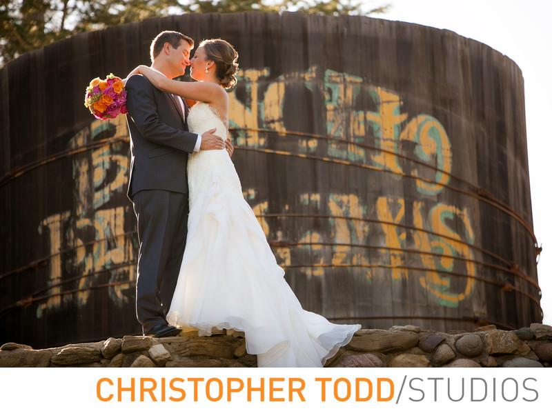 Bride and Groom Portrait Watertower Rancho Las Lomas