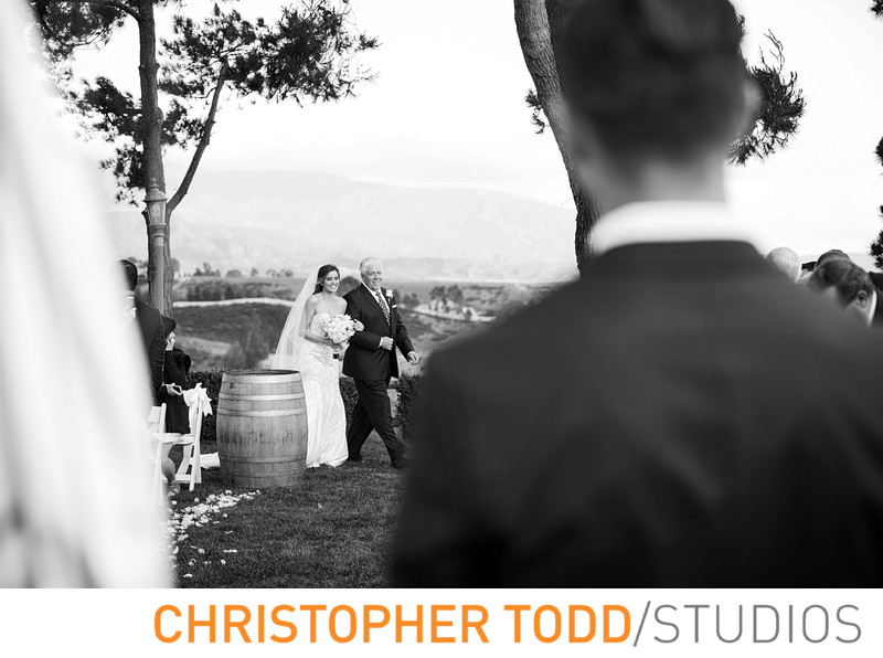Callaway Winery Wedding Groom's First Look Of Bride