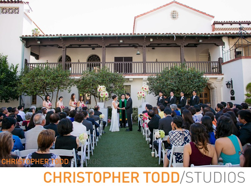 Bowers Museum Outdoor Wedding Ceremony in the Courtyard