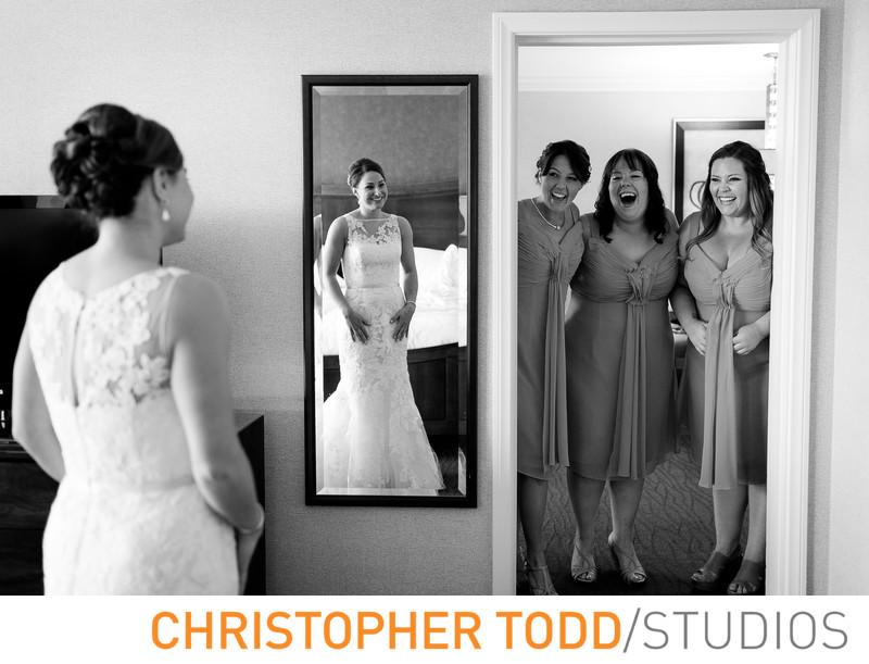 Bridesmaids' First Look of Bride at Hilton Costa Mesa