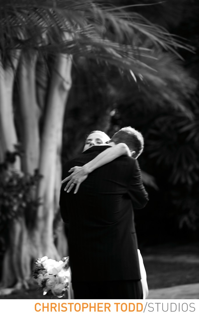 Ritz Carlton Marina Del Rey Bride and Groom Hugging