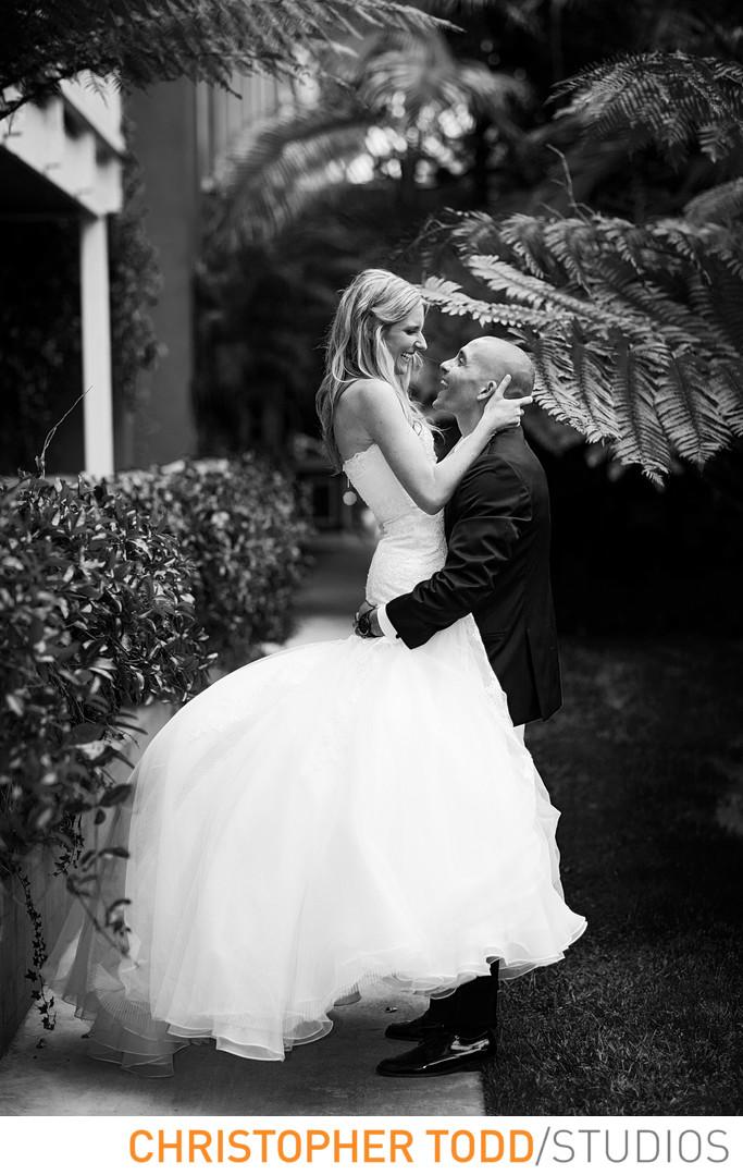 Island Hotel Wedding Photo of Bride and Groom