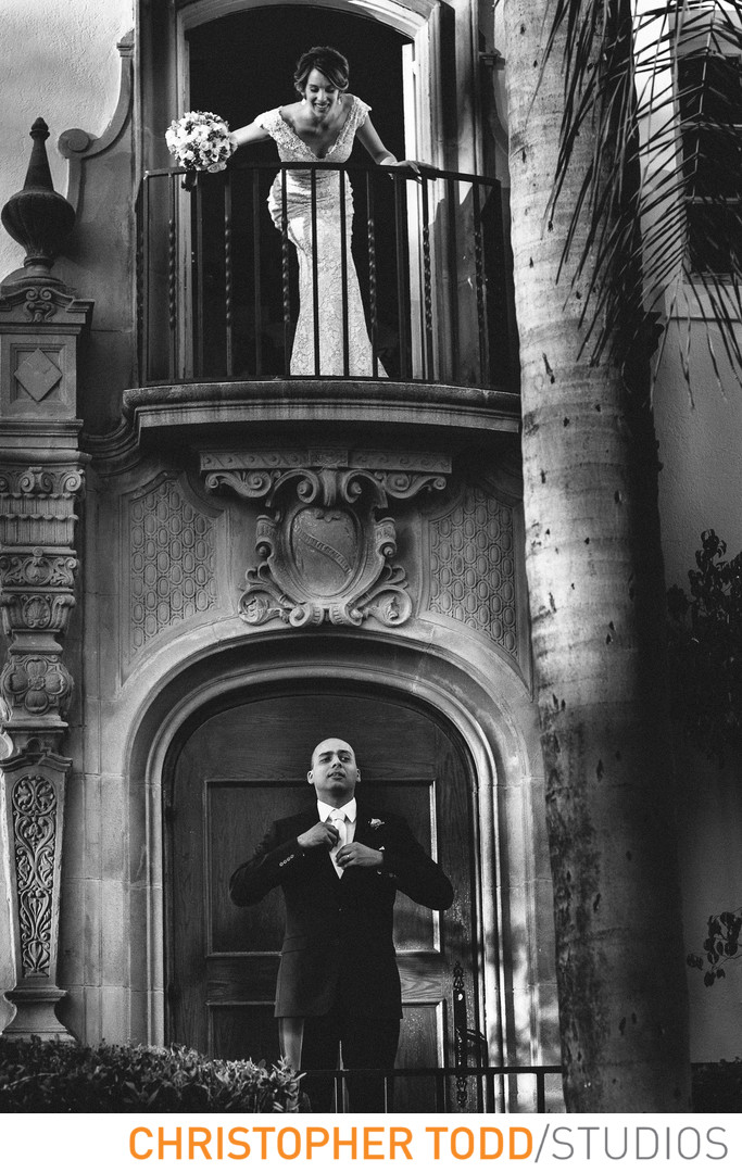 Muckenthaler Mansion Wedding Portrait of Bride & Groom