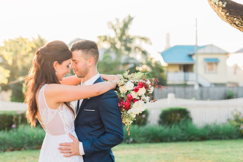 Sunset Brisbane wedding photo