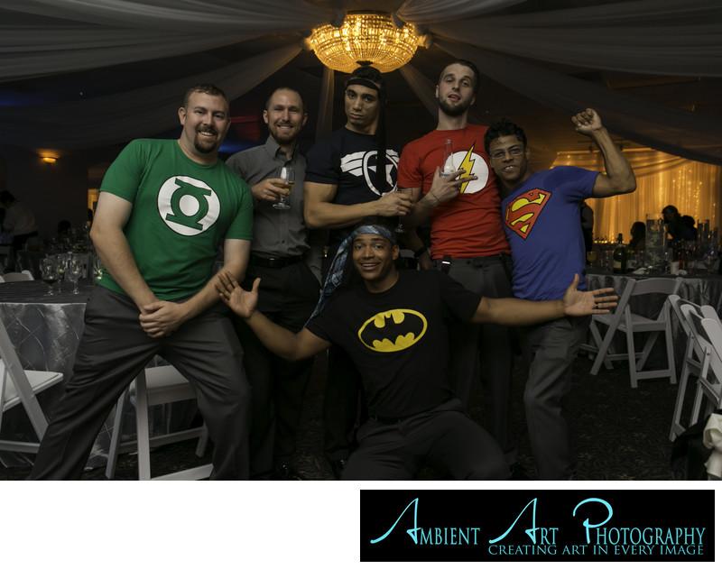 Groomsmen in Superhero shirts.  Wedding party