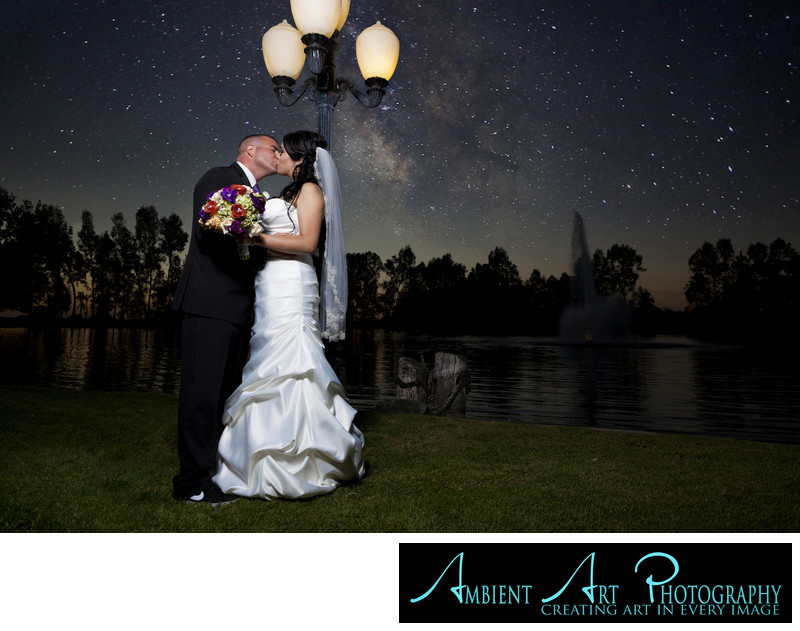 Wedding couple under the stars, Wolf Lakes, Sanger, CA